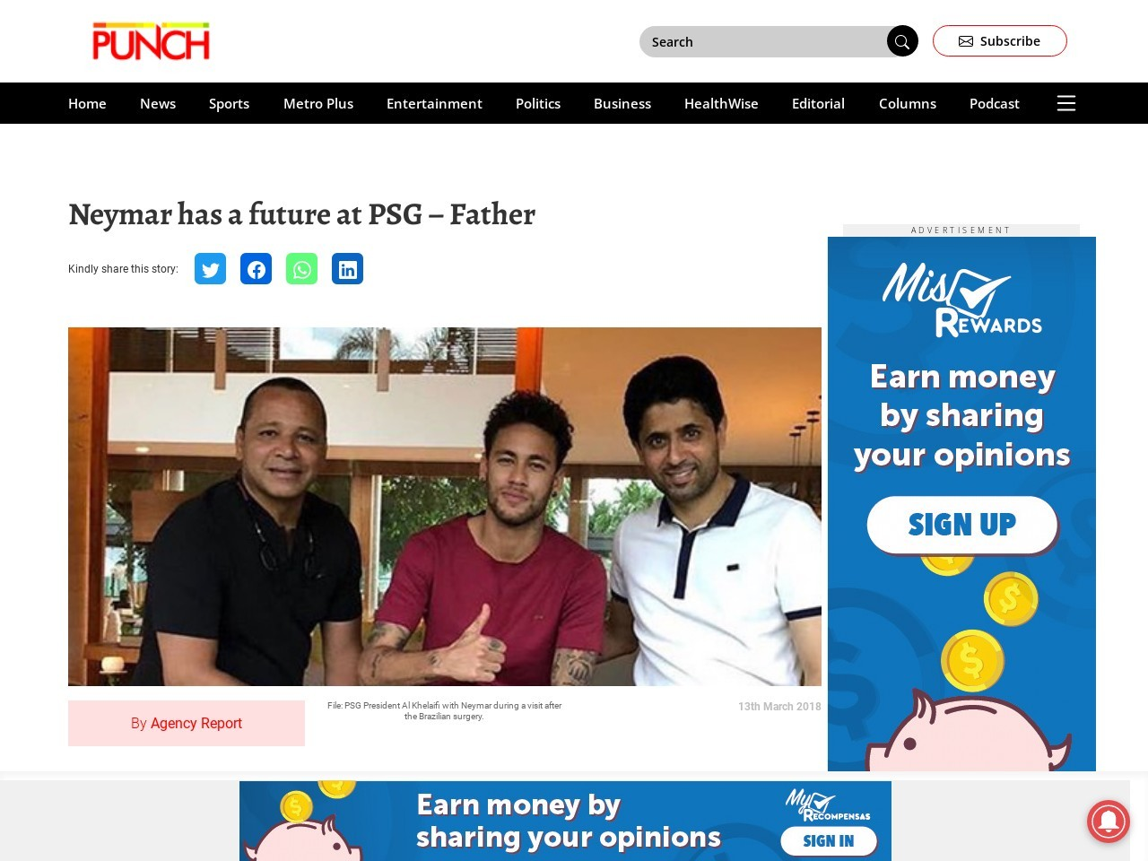 Neymar has a future at PSG – Father