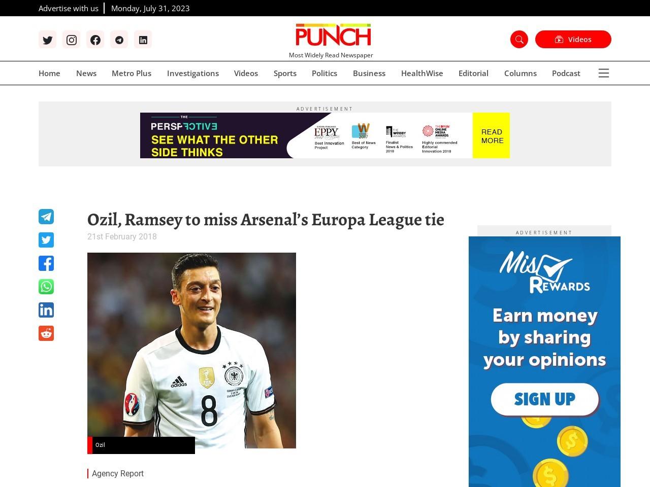 Ozil, Ramsey to miss Arsenal's Europa League tie