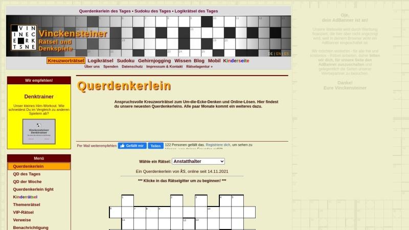 querdenker.vinckensteiner.com Vorschau, Vinckensteiner Rätsel für Querdenker
