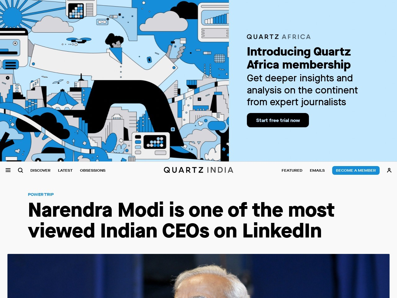 Narendra Modi is one of the most viewed Indian CEOs on LinkedIn