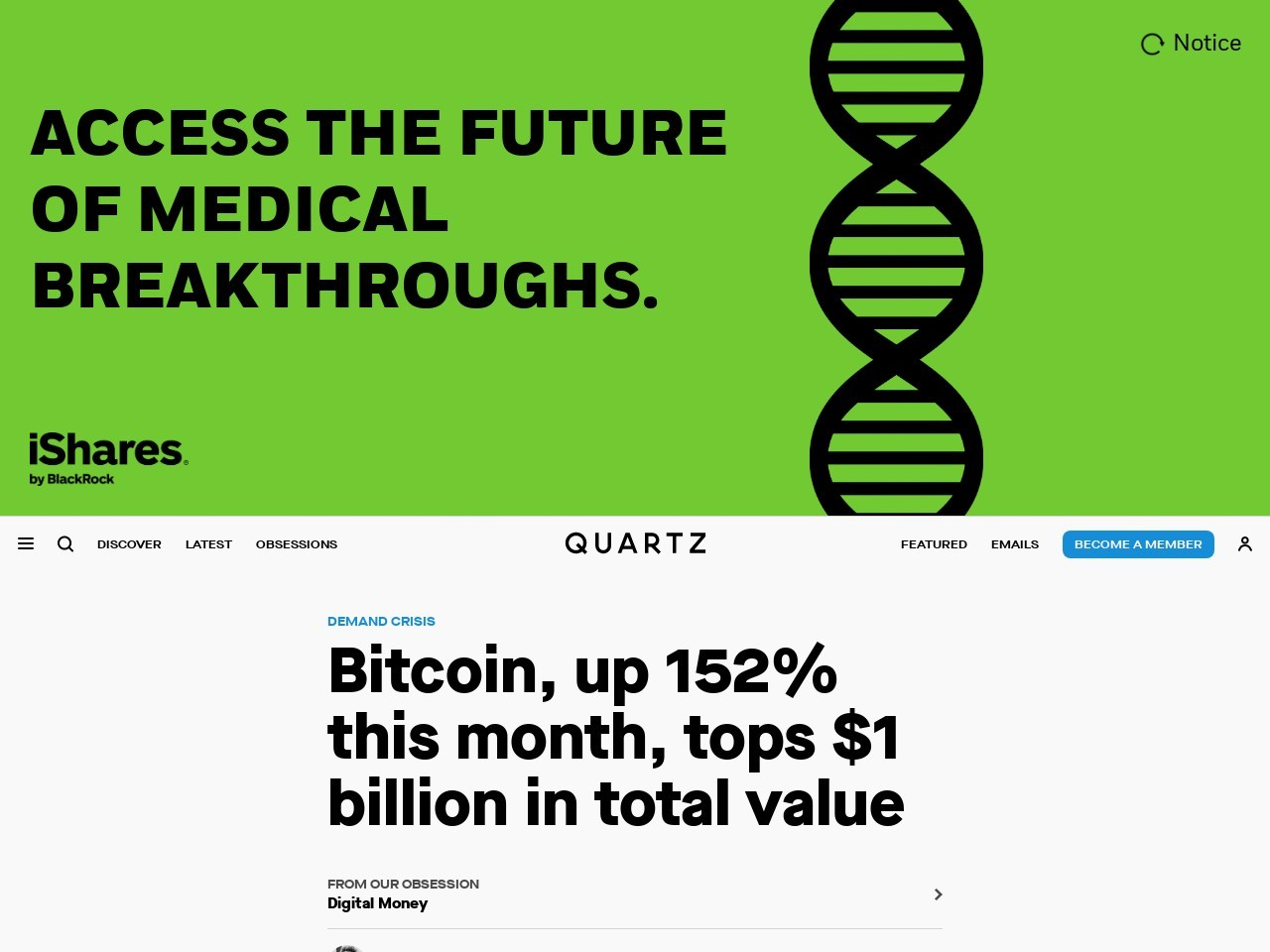 Bitcoin, up 152% this month, tops $1 billion in total value
