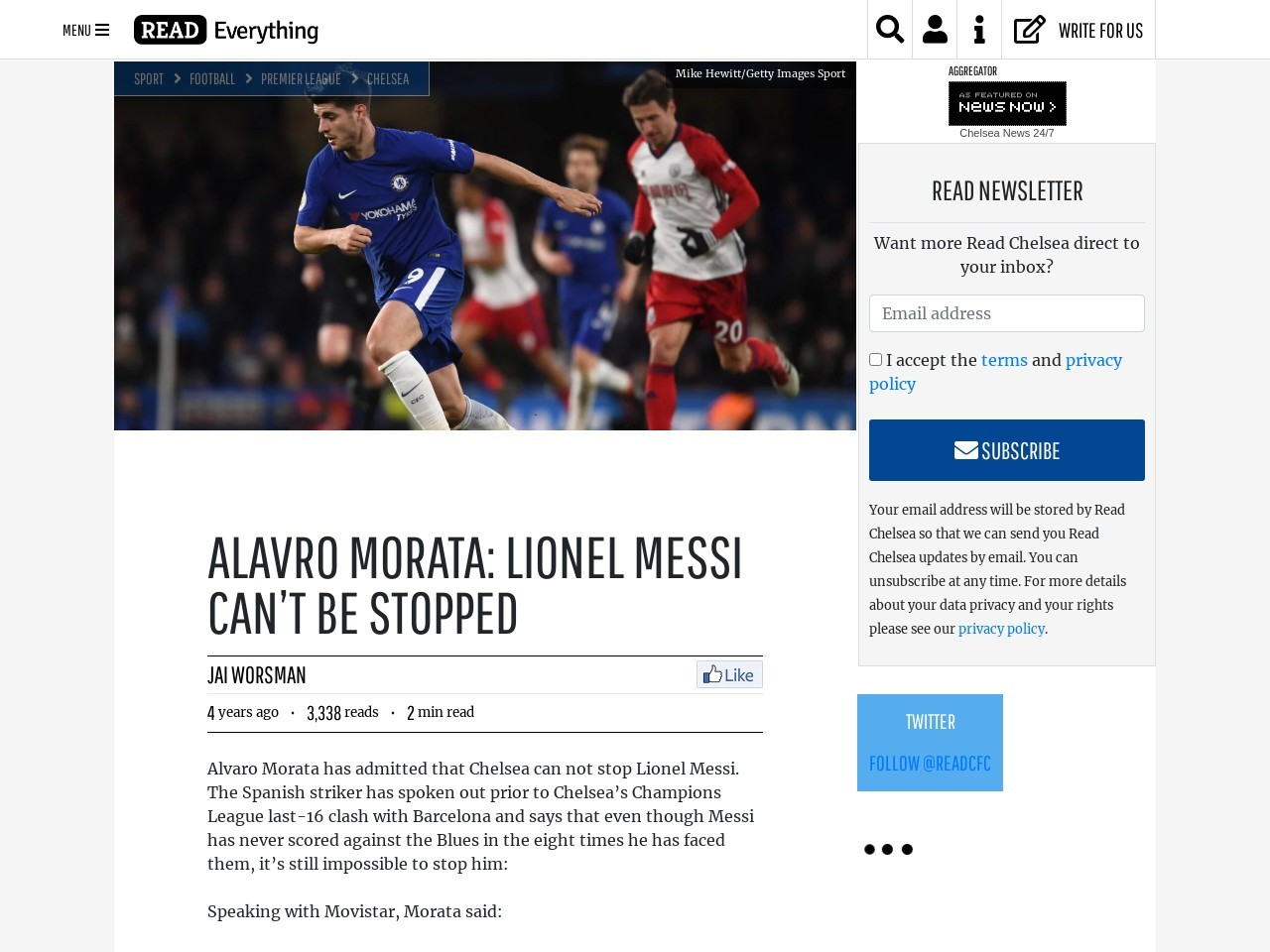 Alavro Morata: Lionel Messi can't be stopped