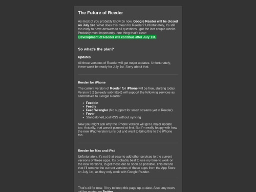 The Future of Reeder