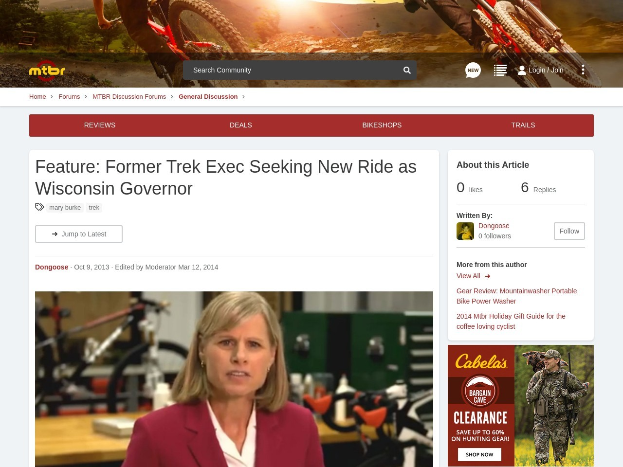 Feature: Former Trek Exec Seeking New Ride as Wisconsin Governor