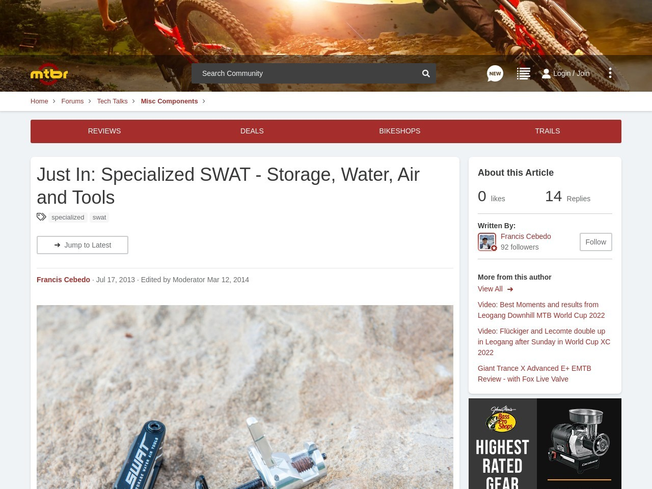Just In: Specialized SWAT – Storage, Water, Air and Tools …