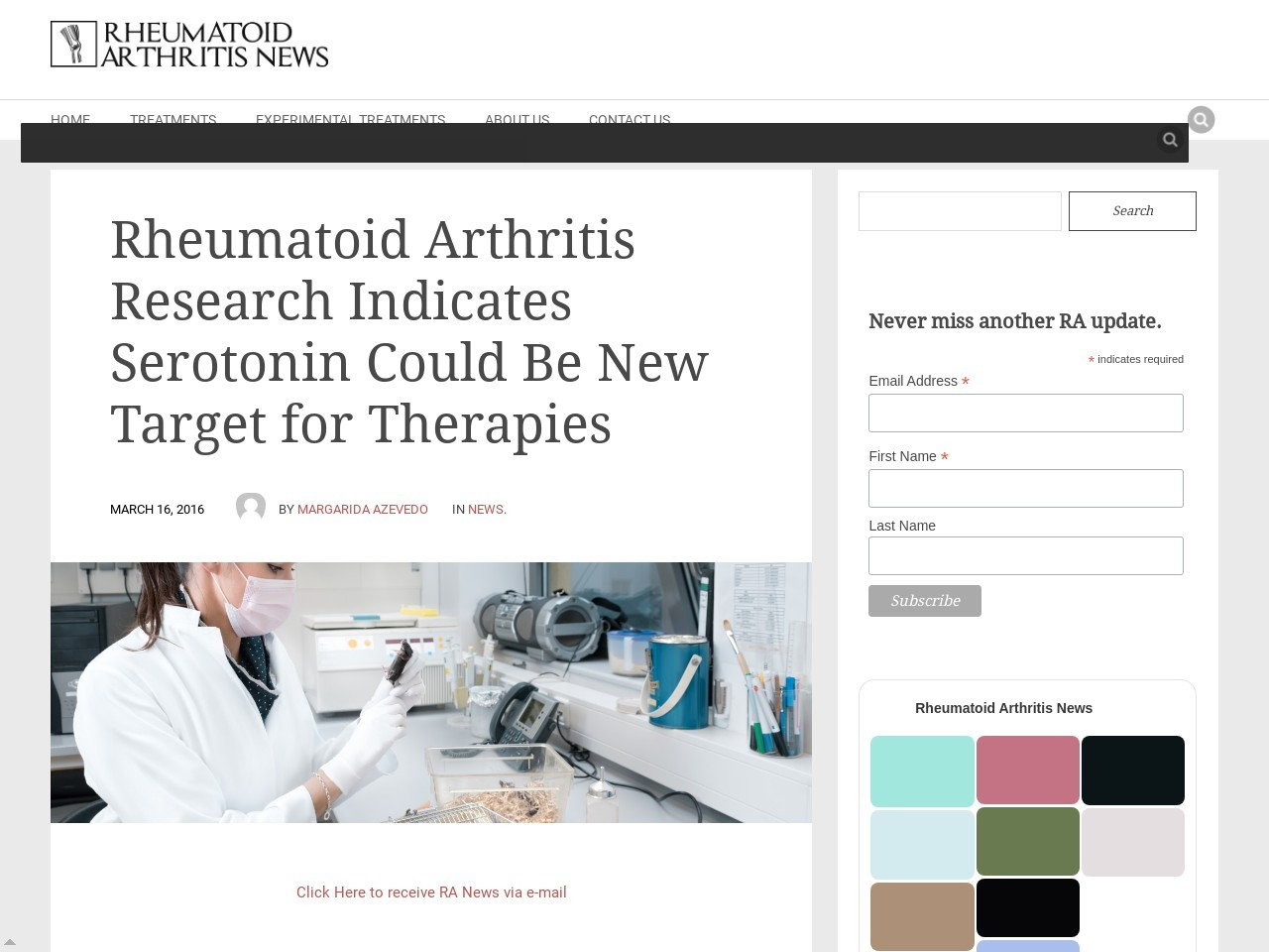 Rheumatoid Arthritis Research Indicates Serotonin Could Be New Target for …