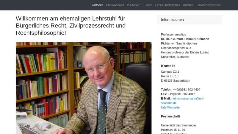ruessmann.jura.uni-sb.de Vorschau, Lehrstuhl für Bürgerliches Recht, Zivilprozessrecht und Rechtsphilosophie