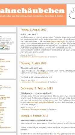Vorschau der mobilen Webseite sahnehaeubchen.twoday.net, Sahnehäubchen