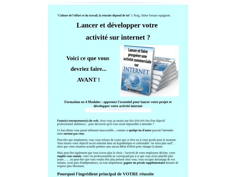 lancer et developper votre  activite sur internet.