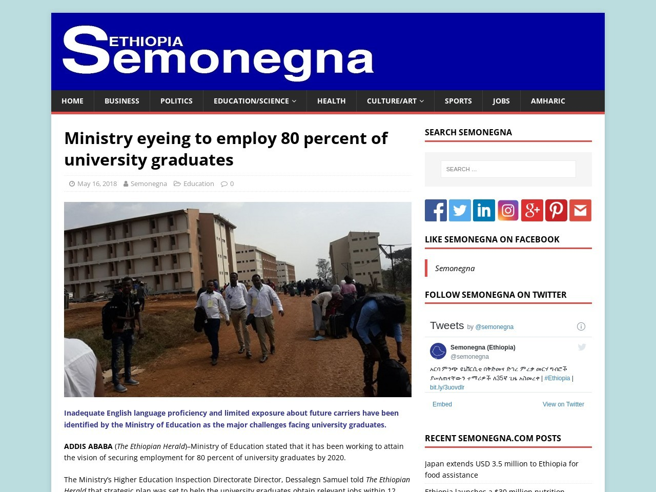 Ministry eyeing to employ 80 percent of university graduates