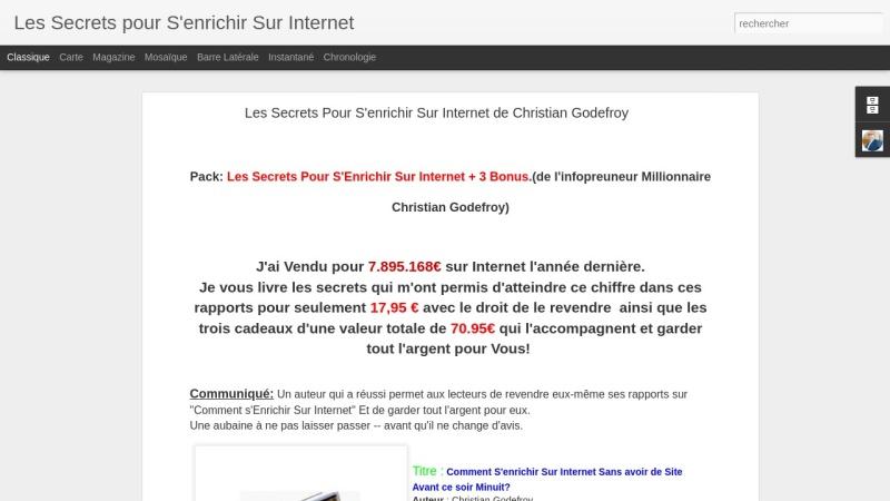 les secrets pour s'enrichir sur internet + 3bonus