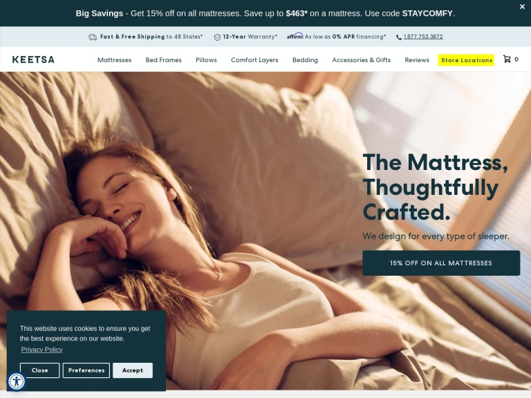 Keetsa Eco-friendly Mattresses screenshot