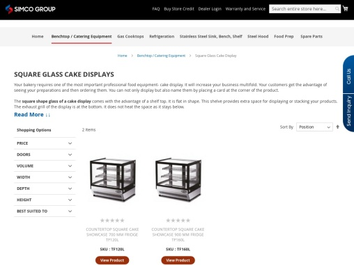 Commercial Square Glass Cake Display