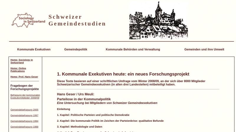 socio.ch Vorschau, Schweizerische Gemeindestudien - Die Texte