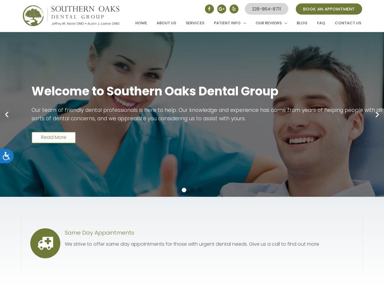 southernoaksdentalgroup.com screenshot