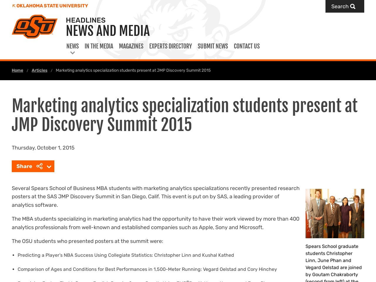 Marketing analytics specialization students present at JMP …