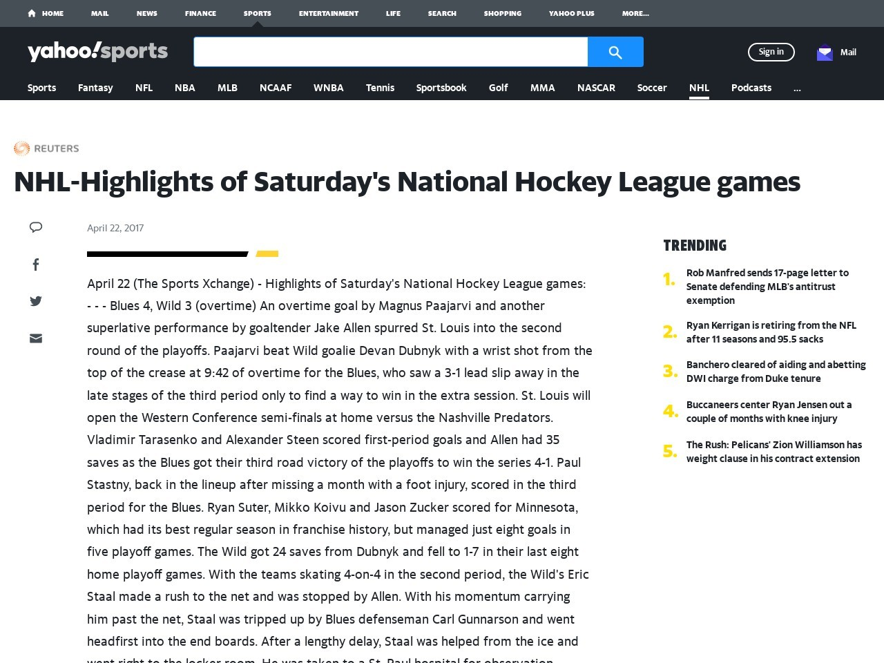 NHL-Highlights of Saturday's National Hockey League games