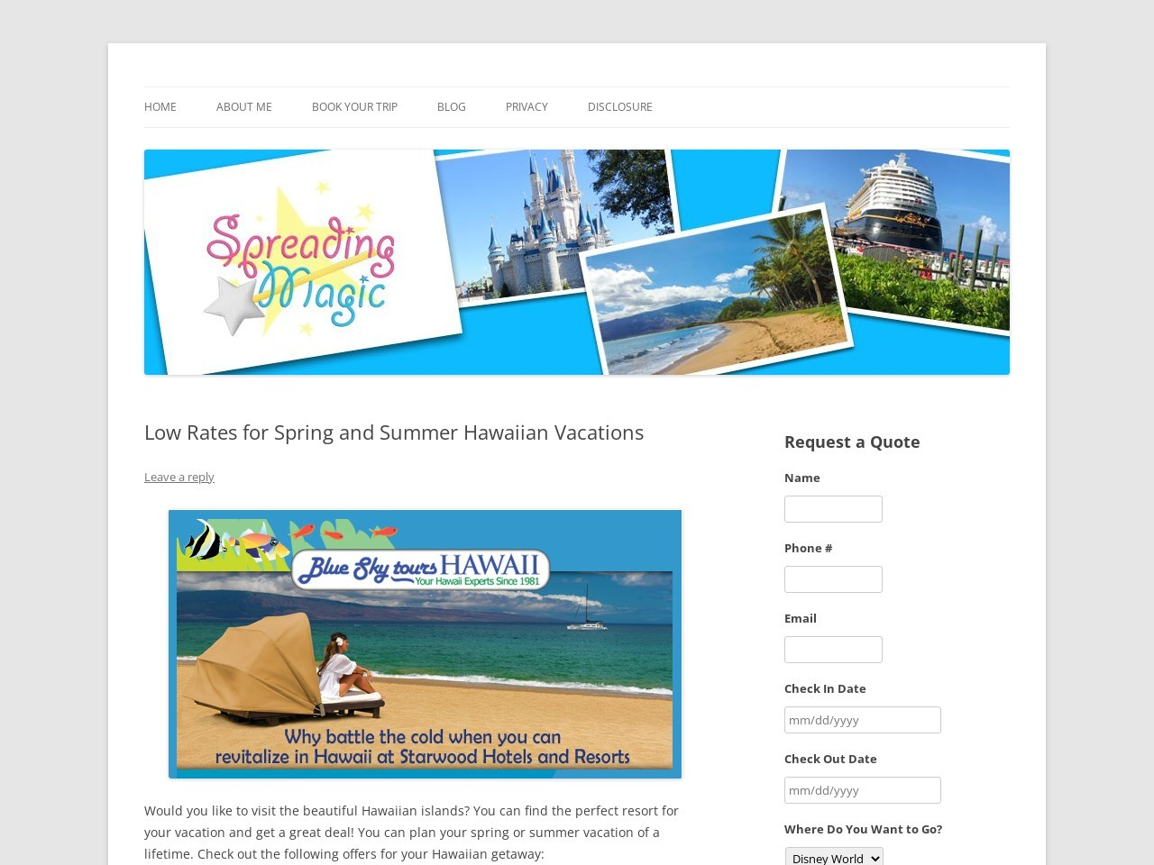 Low Rates for Spring and Summer Hawaiian Vacations
