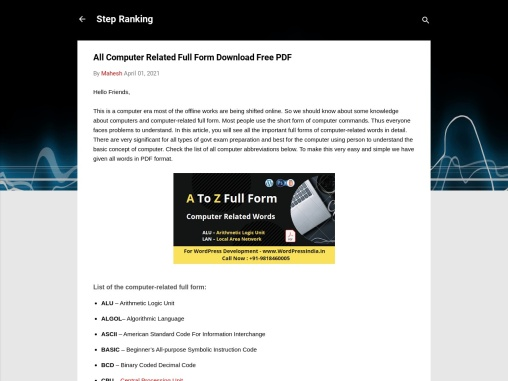 All Computer Related Full Form Download Free PDF