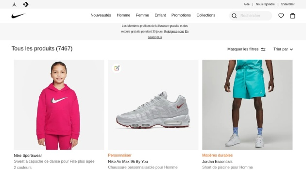 Soldes Nike jusqu'à 50% de réduction sur une sélection d'articles