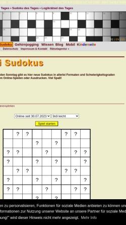 Vorschau der mobilen Webseite sudoku.vinckensteiner.com, Allerlei Sudoku