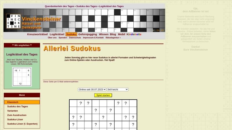 sudoku.vinckensteiner.com Vorschau, Allerlei Sudoku
