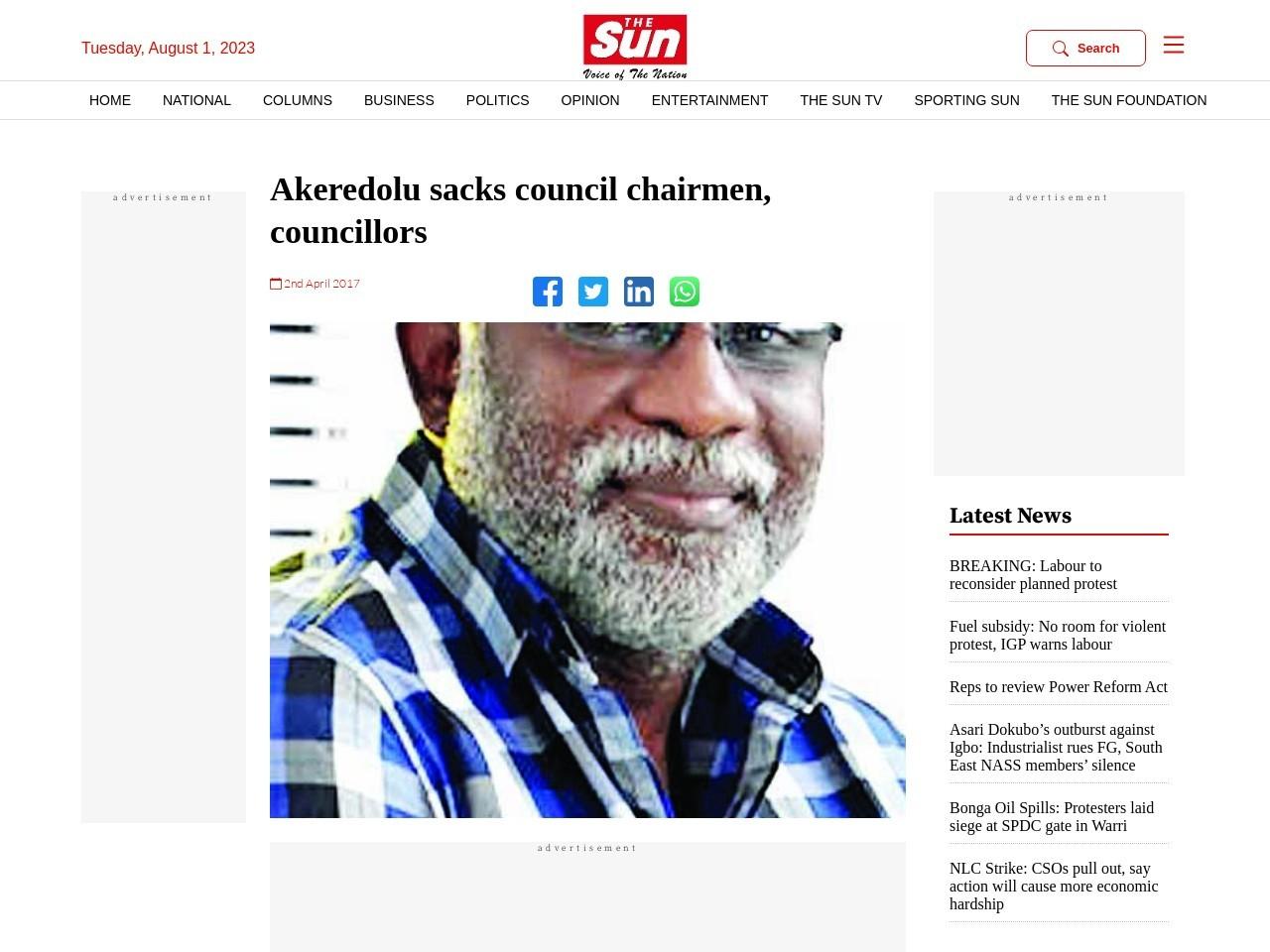 Akeredolu sacks council chairmen, councillors