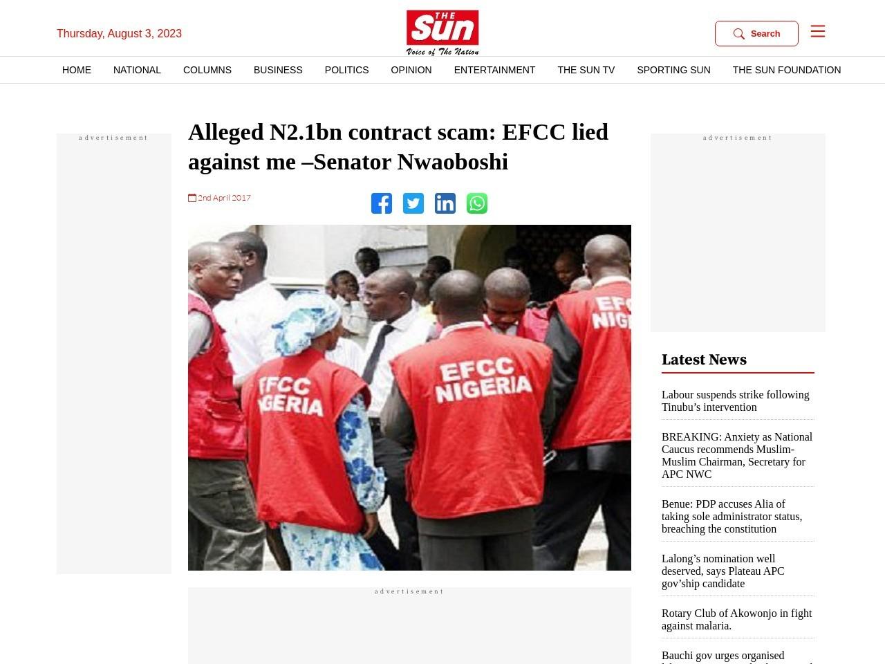 Alleged N2.1bn contract scam: EFCC lied against me –Senator Nwaoboshi
