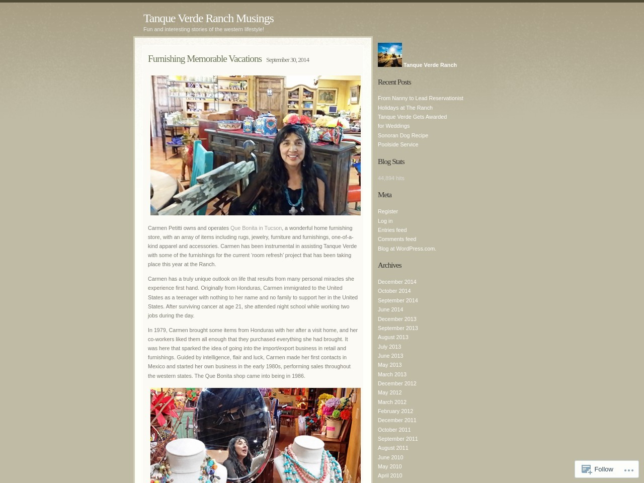 Furnishing Memorable Vacations | Tanque Verde Ranch …