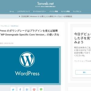 WordPress のダウングレードはプラグインを使えば超簡単!「WP Downgrade Specific Core Version」の使い方を紹介 | Tanweb.net