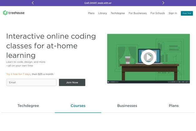 Screenshot von teamtreehouse.com