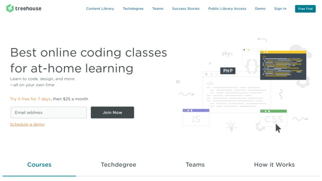 Beispiel-Screenshot für Flat Webdesign von http://teamtreehouse.com/