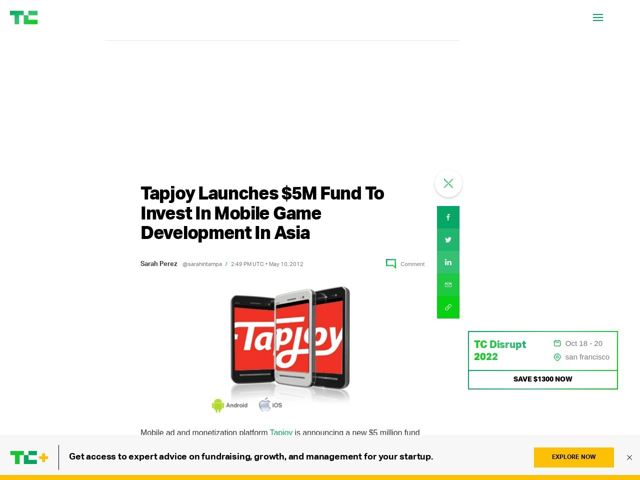 Tapjoy Launches $5M Fund To Invest In Mobile Game Development In Asia