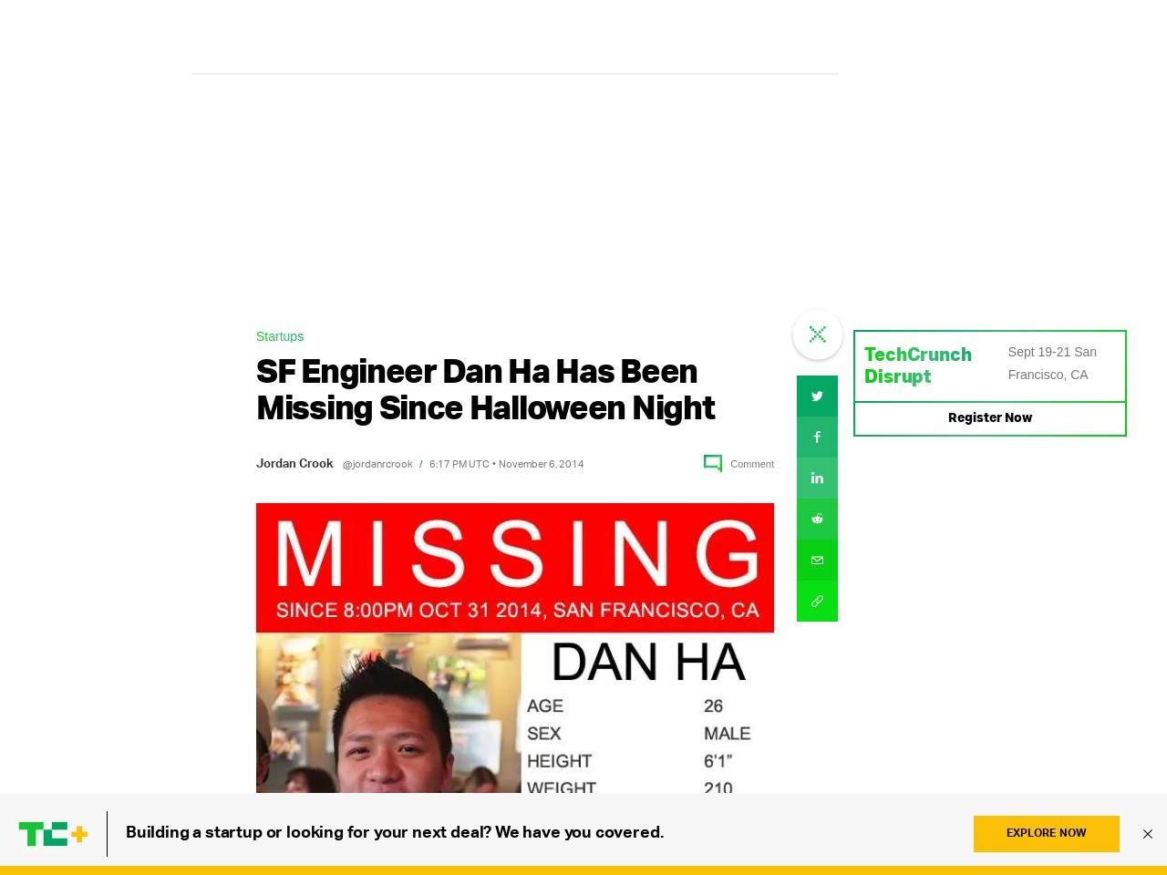 SF Engineer Dan Ha Has Been Missing Since Halloween …