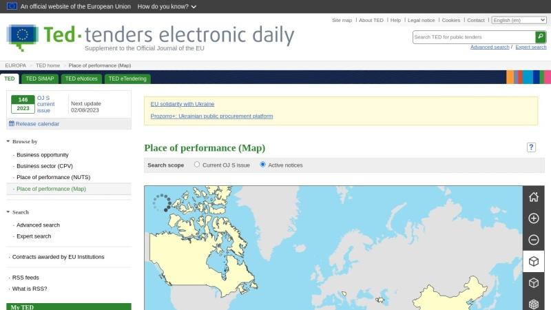 ted.europa.eu Vorschau, Tenders Electronic Daily