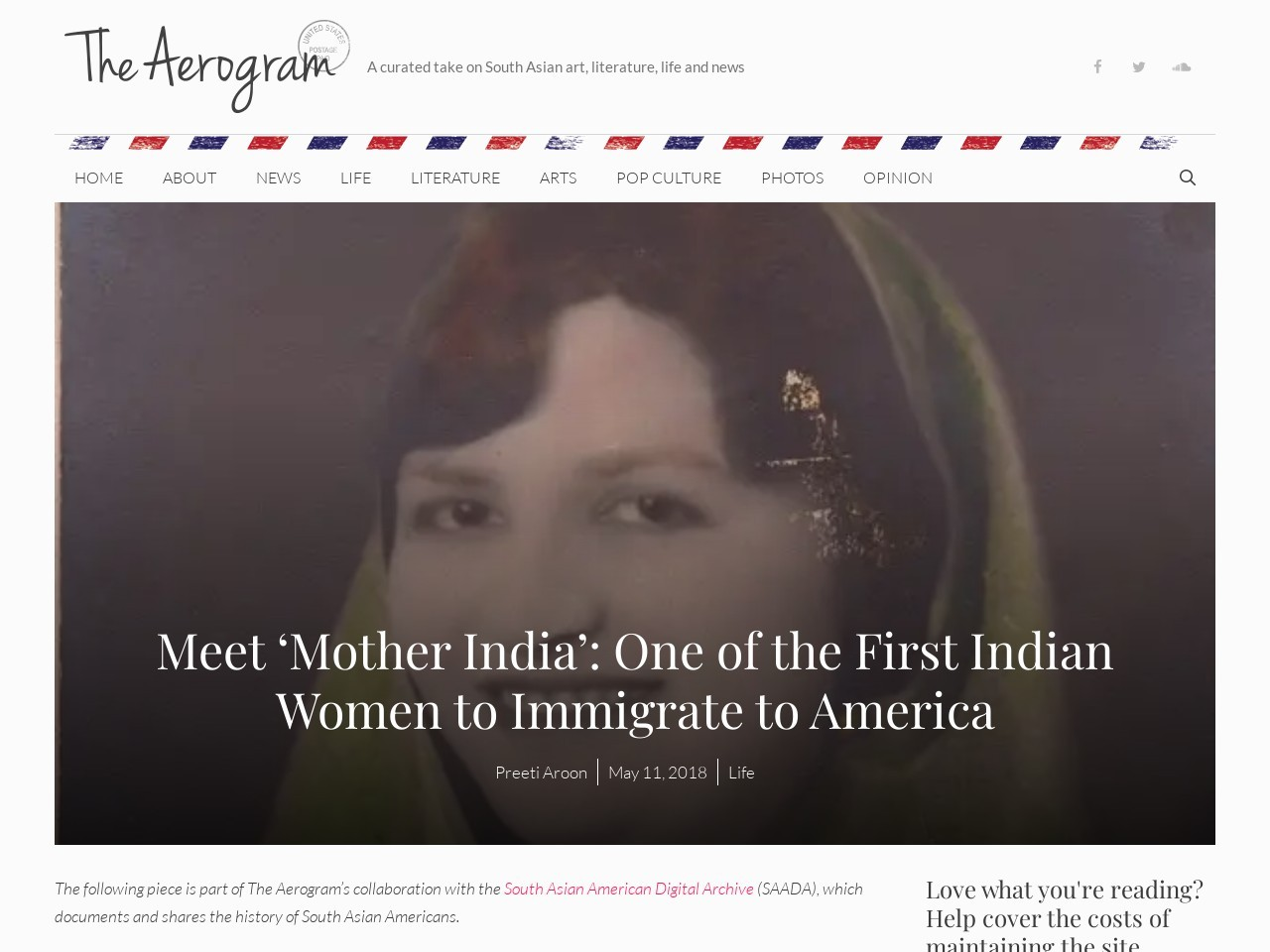 Meet 'Mother India': One of the First Indian Women to Immigrate to America