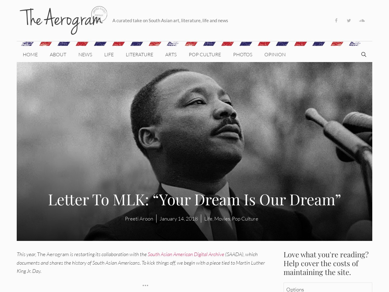 "Letter To MLK: ""Your Dream Is Our Dream"""
