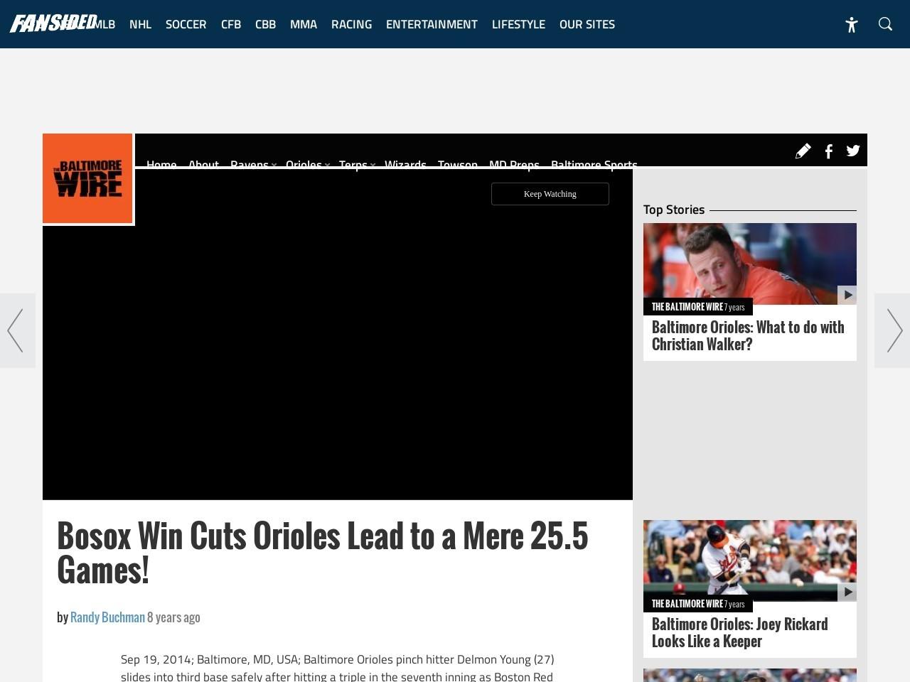 Bosox Win Cuts Orioles Lead to a Mere 25.5 Games!