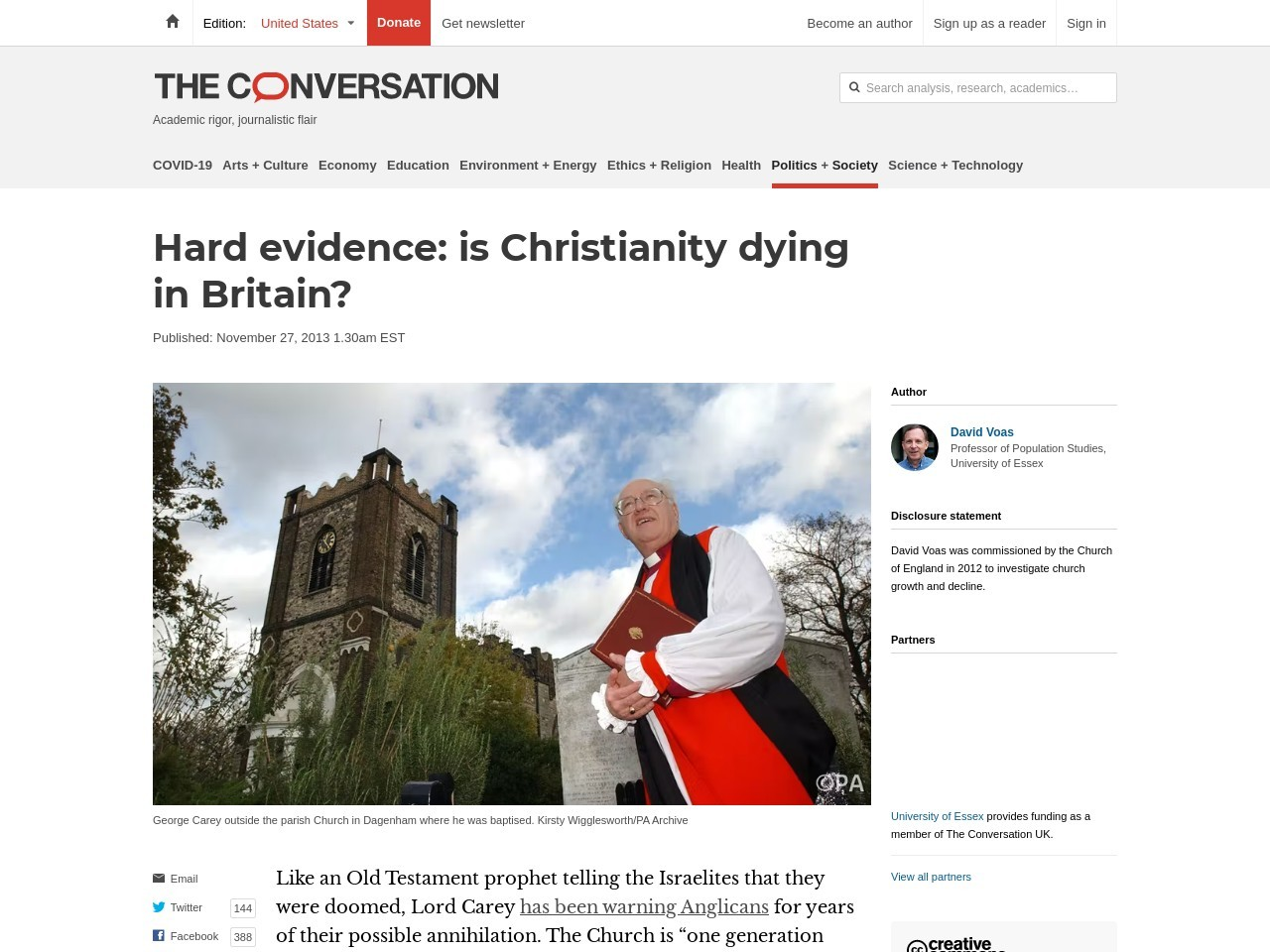 Hard evidence: is Christianity dying in Britain? – The Conversation
