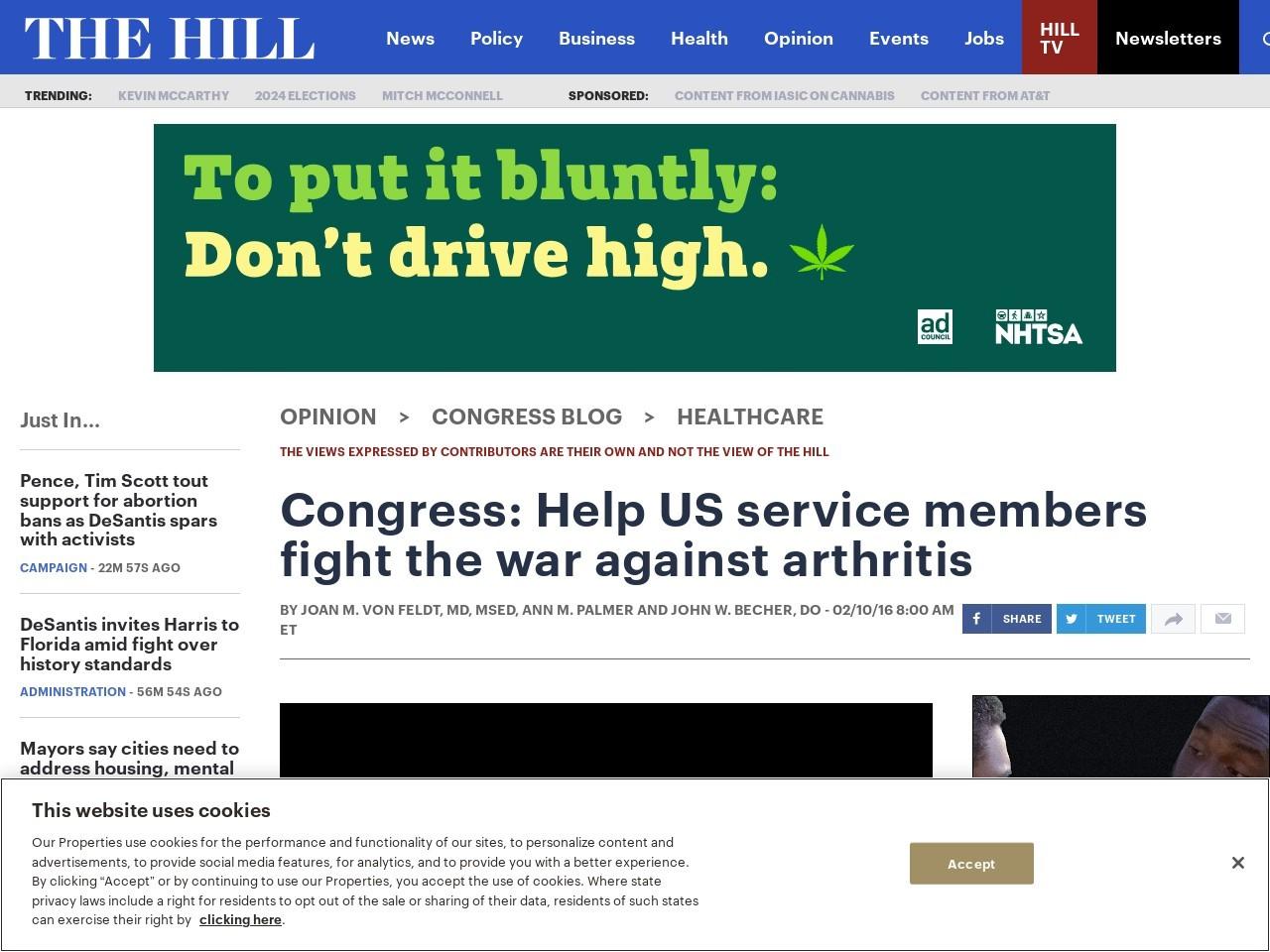 Congress: Help US service members fight the war against arthritis
