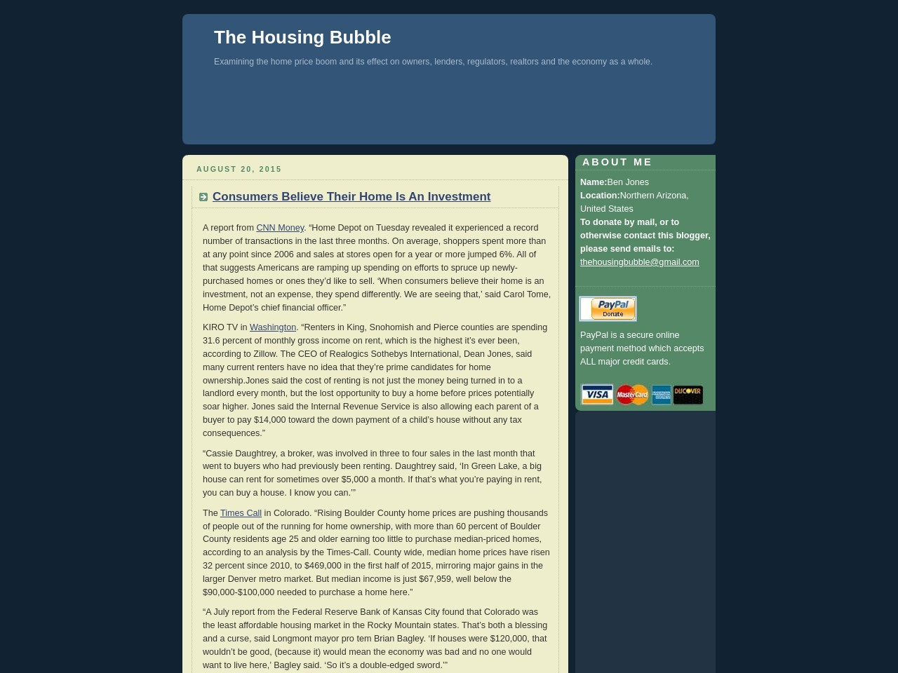 The Housing Bubble Blog » Consumers Believe Their Home …