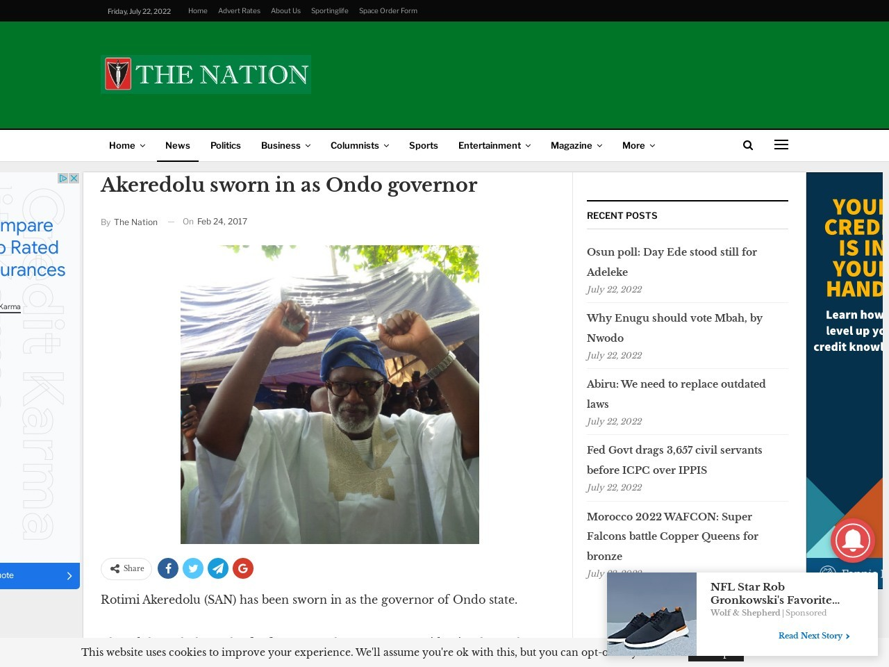 Akeredolu sworn in as Ondo governor