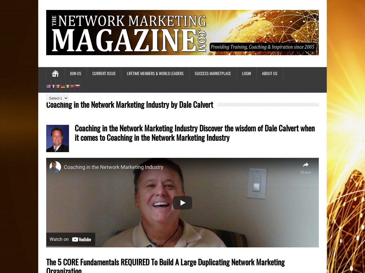 Coaching in the Network Marketing Industry  by Dale Calvert
