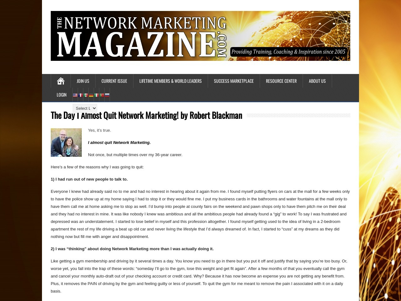 The Day I Almost Quit Network Marketing! by Robert Blackman