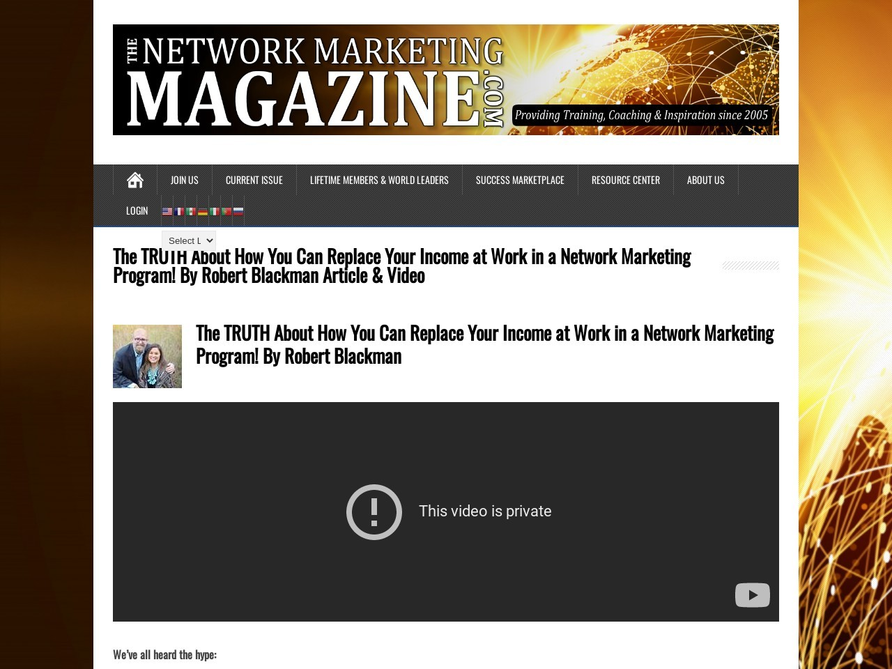 The TRUTH About How You Can Replace Your Income at Work in a Network Marketing Program! By Robert Blackman Article & Video