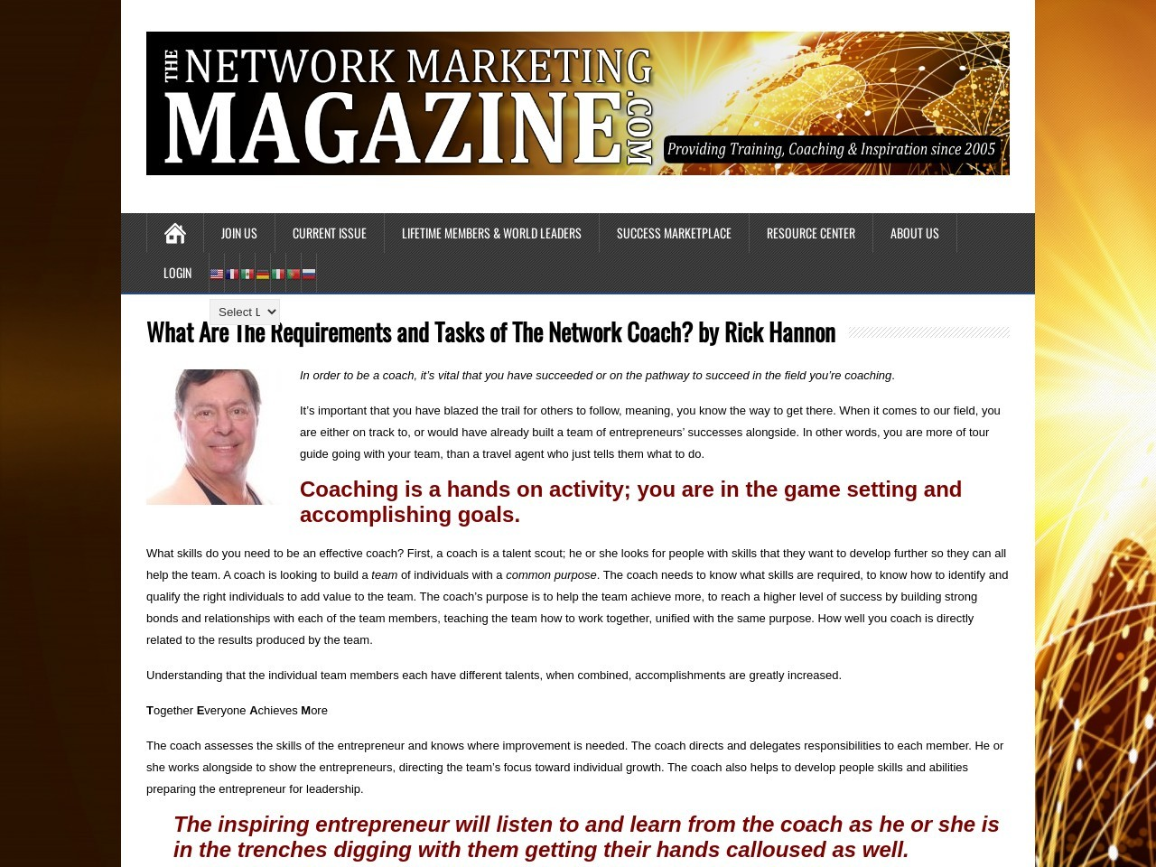 What Are The Requirements and Tasks of The Network Coach? by Rick Hannon
