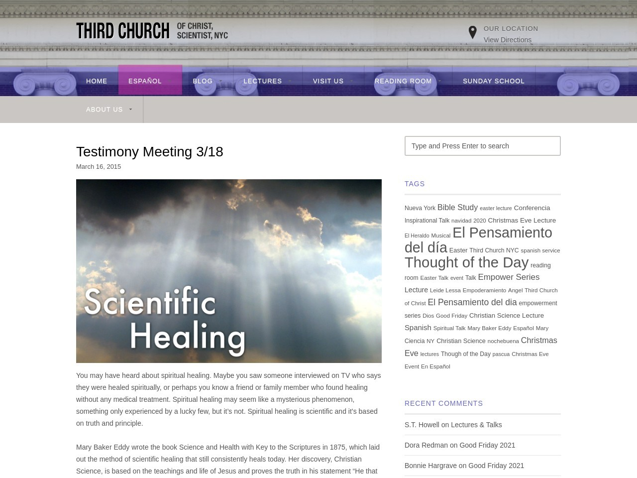 Testimony Meeting 3/18 – Third Church of Christ, Scientist …