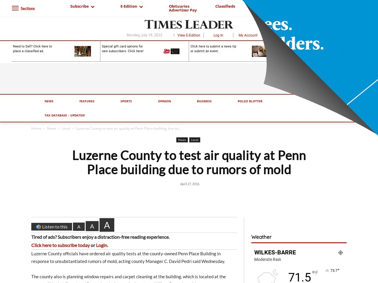 Luzerne County to test air quality at Penn Place building due to rumors of mold