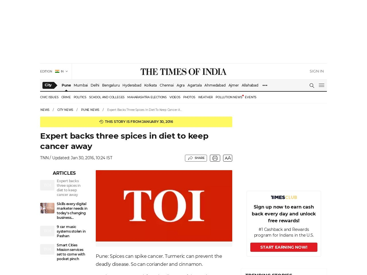 Expert backs three spices in diet to keep cancer away