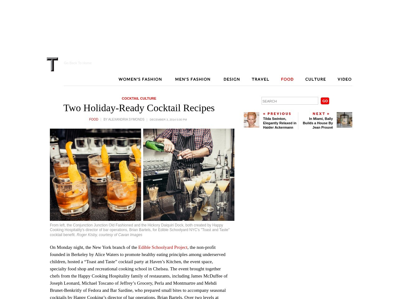 Two Holiday-Ready Cocktail Recipes – T Magazine Blog